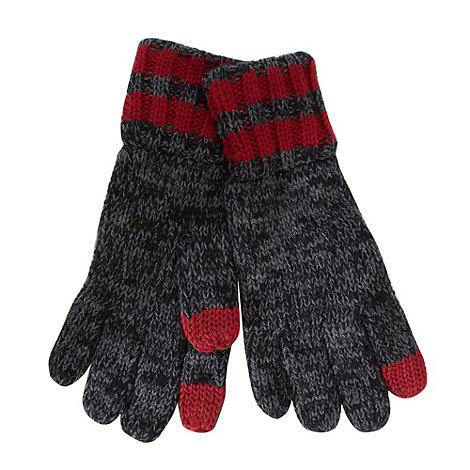 Mantaray - Dark grey striped cuff touch screen knitted gloves