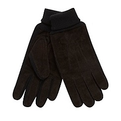 Maine New England - Black ribbed cuff suede gloves