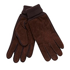 Maine New England - Brown ribbed cuff suede gloves