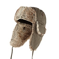 Red Herring - Khaki faux fur trimmed trapper hat