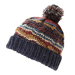 Red Herring - Dark red chunky cable knit bobble hat