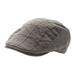Osborne - Brown dogtooth checked flat cap