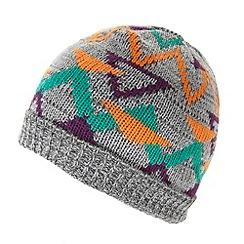 Red Herring - Grey geometric knit beanie hat