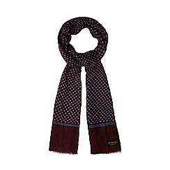 Hammond & Co. by Patrick Grant - Wine red geometric print dress scarf