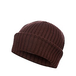 Red Herring - Dark red ribbed beanie hat