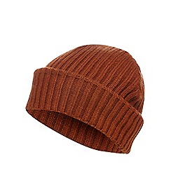 Red Herring - Dark orange ribbed beanie hat