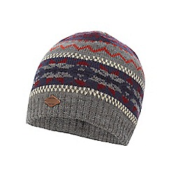 Mantaray - Grey Fair Isle knitted beanie hat