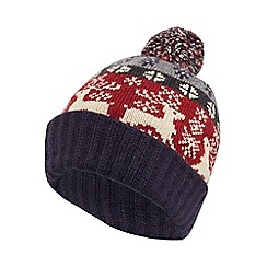 Mantaray - Multi-coloured reindeer Fair Isle bobble hat