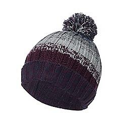 Mantaray - Purple knitted stripe bobble hat