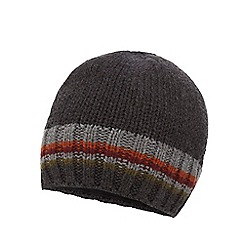 Mantaray - Dark grey striped trim knitted beanie hat