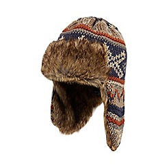 Mantaray - Multi-coloured knitted faux fur trim trapper hat