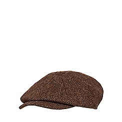RJR.John Rocha - Brown wool herringbone baker boy hat