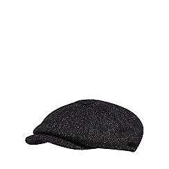 RJR.John Rocha - Black herringbone harris tweed baker boy cap