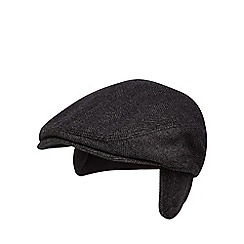 J by Jasper Conran - Dark grey earflap herringbone tweed flat cap