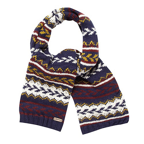 Mantaray - Navy chunky fairisle scarf