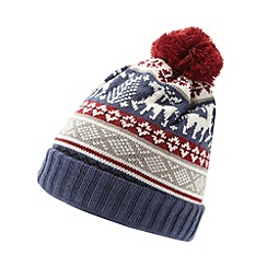 Red Herring - Blue knitted reindeer hat