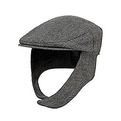 Hammond & Co. by Patrick Grant - Grey checked ear flap flat cap with wool