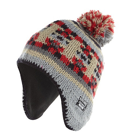 Animal - Grey striped wool fleece hat
