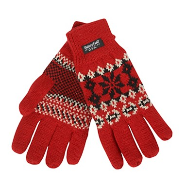 Red fairisle gloves