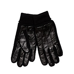 Maine New England - Black leather knitted gloves