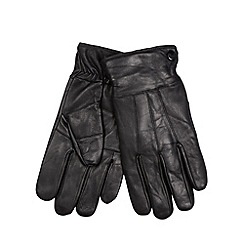 Maine New England - Black leather panelled gloves