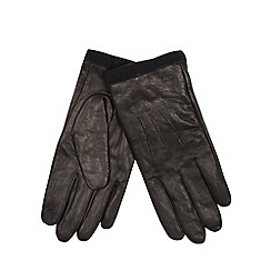 RJR.John Rocha - Designer black leather fleece cuff gloves