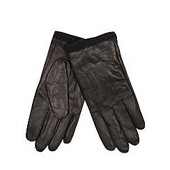 RJR.John Rocha - Designer black leather fleece cuff gloves