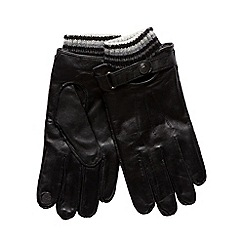 RJR.John Rocha - Designer black leather knitted cuff gloves