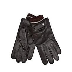 RJR.John Rocha - Designer brown leather knitted cuff gloves