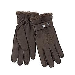 RJR.John Rocha - Designer brown leather borg cuff gloves