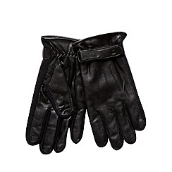 Jeff Banks - Designer black leather side elastic gloves
