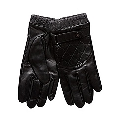 Jeff Banks - Designer black leather cuff gloves