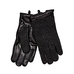 Jeff Banks - Designer dark grey leather knitted gloves