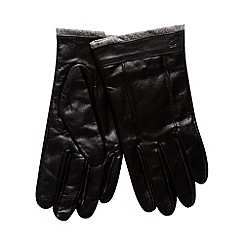 Jeff Banks - Designer black leather panel gloves