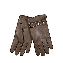 RJR.John Rocha - Designer brown leather contrast borg lined gloves