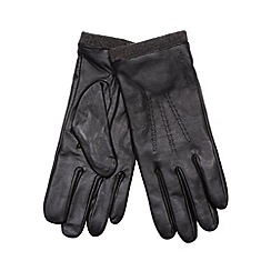Jeff Banks - Designer black leather knit trim gloves