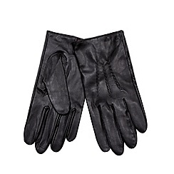 Jeff Banks - Designer black leather knit lined gloves