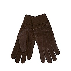 Maine New England - Brown 'Thinsulate' suede ribbed gloves