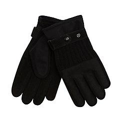 Jeff Banks - Designer black fleece lined felt gloves
