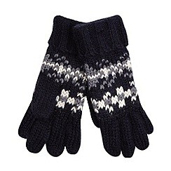 Mantaray - Navy chunky knit fairisle gloves