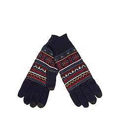 Red Herring - Navy fairisle knitted gloves