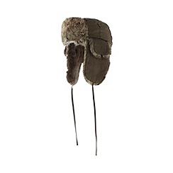 Red Herring - Khaki faux fur trim trapper hat