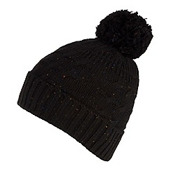 Red Herring - Black speckled cable knit bobble hat