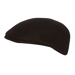 Osborne - Black moulded peak wool flat cap