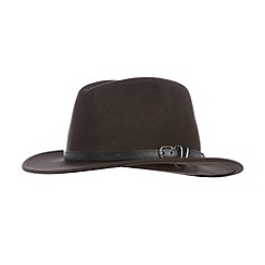 Osborne - Brown wool buckle trim moulded fedora