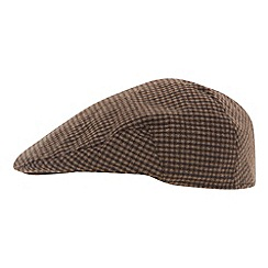 Osborne - Brown mini dogtooth flat cap