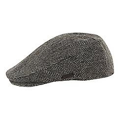 RJR.John Rocha - Designer grey Harris tweed herringbone flat cap