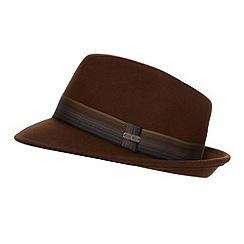 J by Jasper Conran - Designer brown striped band trilby hat