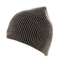 Red Herring - Dark grey plaited knit beanie hat