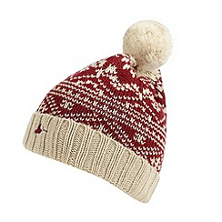 Mantaray - Red fairisle knitted bobble hat